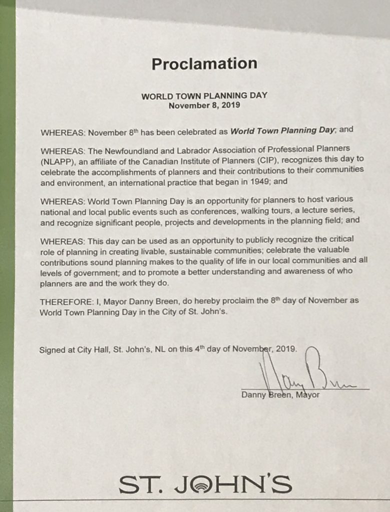A Proclamation for World Town Planning Day at the City of St. John's